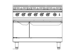 F7010GGR Furnotel 700 Series 6-Burner Gas Range With Oven