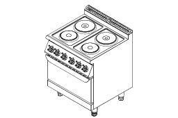 F7070EER Furnotel 700 Series Electric 4-Hot Plate Cooker With Oven