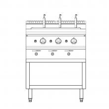 X Series Gas Pasta Cooker With Open Cabinet